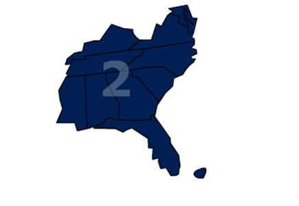 Association of Legal Administrators Region 2 includes Alabama, District of Columbia, Florida, Georgia, Kentucky, Maryland, Mississippi, North Carolina, Puerto Rico, South Carolina, Tennessee and Virginia.