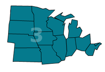 Association of Legal Administrators Region 3 includes Indiana, Illinois, Iowa, Kansas, Michigan, Minnesota, Missouri, Nebraska, Ohio and Wisconsin.