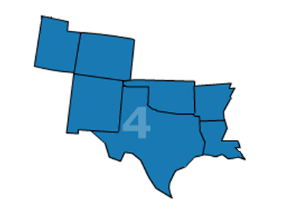 Association of Legal Administrators Region 4 includes Arkansas, Colorado, Louisiana, Mexico, New Mexico, Oklahoma, Texas and Utah.