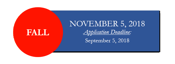 Fall 2018 Test Date November 5, Application Deadline September 5.]