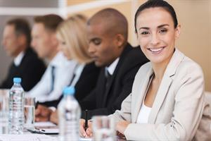 smiling woman in meeting